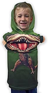 product image for ComputerGear Boys Dinosaur Chompster Hoodie Sweatshirt T-Rex T Shirt Dino Costume Outfit for Kids Girls