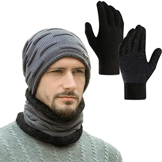 434d49c24521d Winter Beanie Hat Circle Scarf Touchscreen Gloves Set for Men Boys Hats  Knit Slouchy Thick Skull