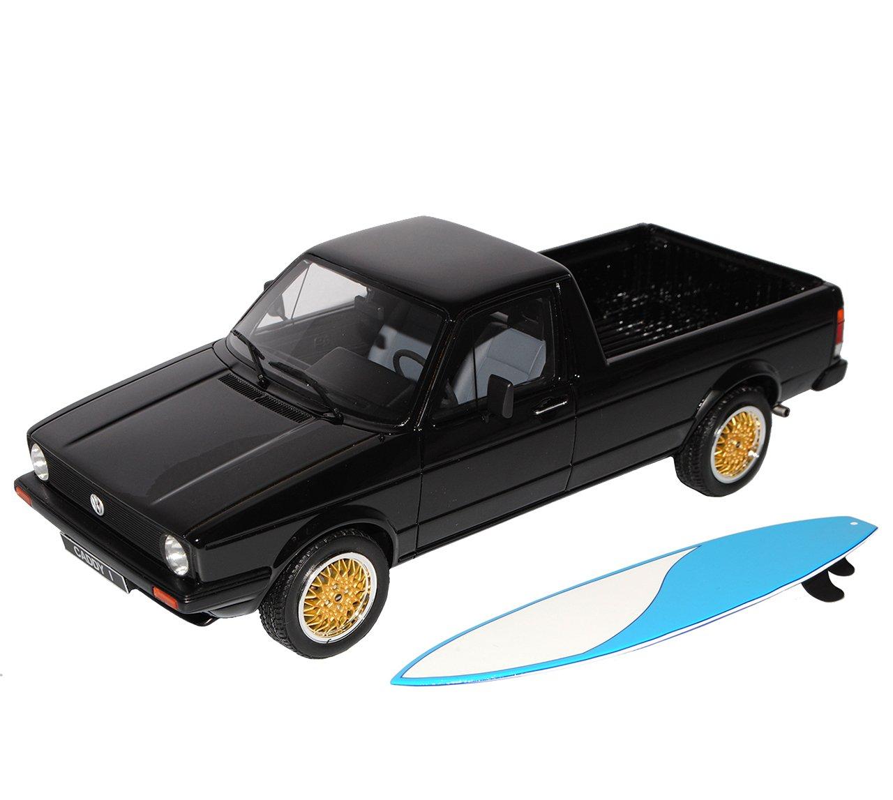 Volkwagen Caddy 14D Pick-Up Pritsche Schwarzmit blauem Surfboard 1978-1992 Nr 665B 1 18 Otto Modell Auto mit individiuellem Wunschkennzeichen  Mit Wunschkennzeichen