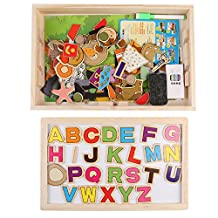 Wooden Magnetic Drawing Sketchpad Board with 86 Pieces Animal Letters Numbers Multi-functional Chalkboard Educational Toys for kids (letter)