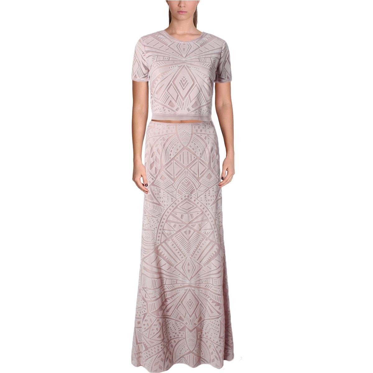 BCBG Max Azria Womens Maris Lace Illusion Crop Top Dress Pink 0