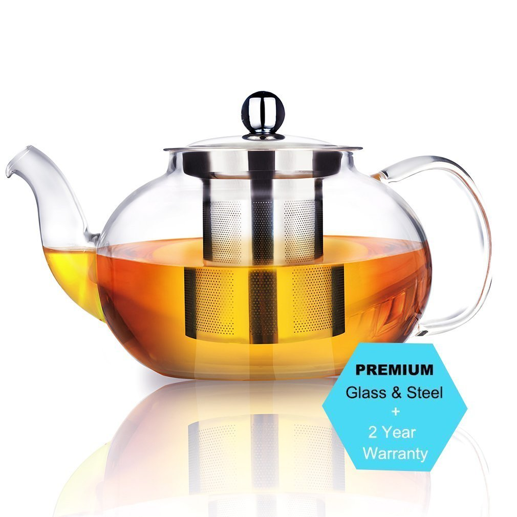 AckMond 27 Ounce / 800 Milliliter Clear Glass Teapot in Apple Shape with Heat Resistant Stainless Steel Infuser