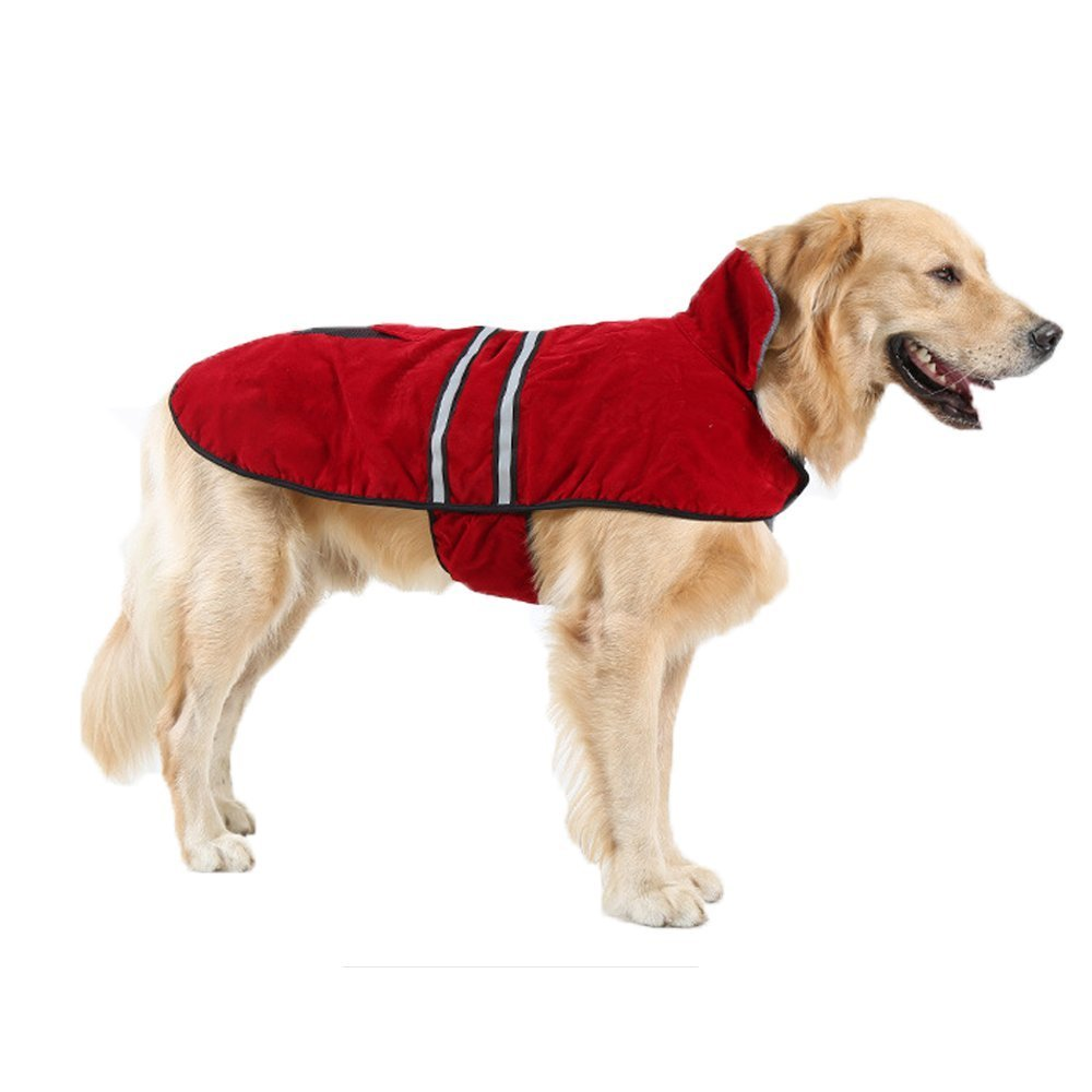 Red Medium Red Medium TOPSOSO Dog Jacket Fleece Winter Coat Waterproof Soft Cozy Snowsuit with Reflective Belt for Medium and Large Dogs. (M, Red).