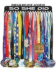 Race Medal Holder Hanger Display Rack Ribbon Wall Frame with 20 Hanging Hooks Easy Use Easy Install-Run Wrestling Kids Swim Cheer Medal Holder Display Rack in Black Effect-Magic Headbands 2PCS As Gift