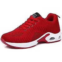 Zapatillas Deportivas de Mujer Air Cordones Zapatillas de Running Fitness Sneakers 4cm Negro Rojo Rosado Púrpura Blanco…