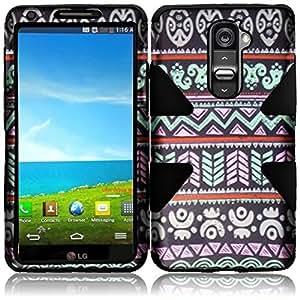 For LG G2 Dynamic Tuff Hybrid Impact Aztec Cover Case (Dont fit Verizon) (Elegant Aztec / Black)
