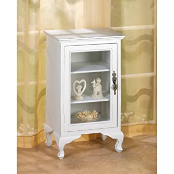 Amazon Glass Door Curio Display White Wood Chic Shabby End