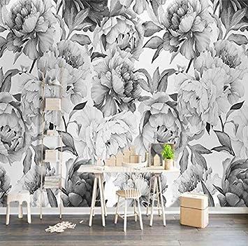 Personnalisé 3D Mural Mur Noir Blanc Pivoine Fleur Aquarelle ...