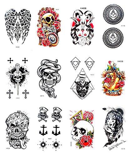 12 sheets skull angel wing anchor temporary tattoo fake tattoos -