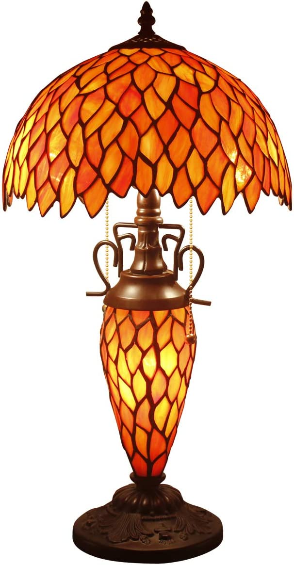 Tiffany Lamp Red Wisteria Stained Glass Style Table Lamp 3 Light W12 H22 Inch Beside Desk Reading Sets for Lover Living Room Bedroom Kids Room Coffee Table Bookcase S523R WERFACTORY