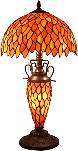 Tiffany Lamp W12H22 Inch Red Wisteria Stained Glass Style Desk Bedside Table Antique Reading Lighting S523R WERFACTORY Lamps Lover Kids Girl Friends Living Room Bedroom Study Office Art Crafts Gifts