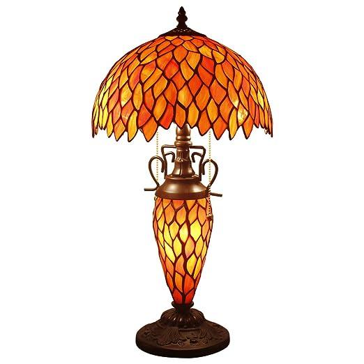 Tiffany S523R WERFACTORY Lámpara de mesa de cristal teñido de ...