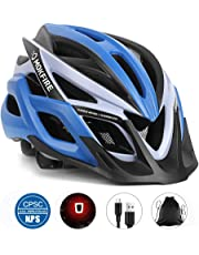 MOKFIRE Adult Bike Helmet CPSC Certified with Rechargeable USB Light, Bicycle Helmet for Men Women Road Cycling & Mountain Biking with Detachable Visor/Replacement Lining, 22.44-24.41 Inches