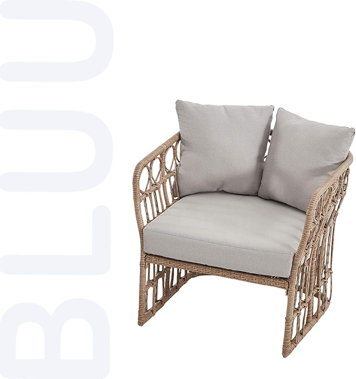 BLUU Rattan Chair in Aluminum Classic Patio Furniture Wicker Conversation Bistro Set/Water Rust & Aging Resistant (Chair)