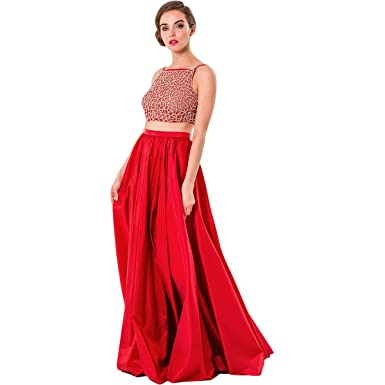 d331f0fe43bd6 Glamour by Terani Couture Womens Taffeta Beaded Crop Top Dress at Amazon  Women's Clothing store:
