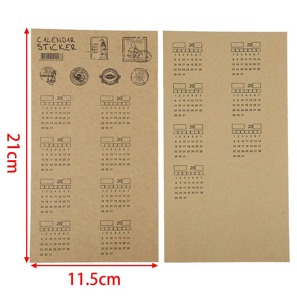 Self-Stick Mini DIY Carta Kraft Etichetta Adesivi per Bullet Segna-Pagina Mark Universale Handwritten Calendario mensile Index Adesivi UIYU 4/Fogli 2019/Calender quaderno Planner////Agenda