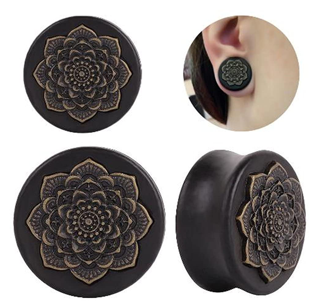 Gmhkonw Vintage Wood Inlayed Copper Flower Ear Plugs Tunnels Gauges Stretcher Piercings Jewelry Yiwu fuyuan trading co. LTD.