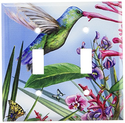 - Art Plates - Green Hummingbird Switch Plate - Double Toggle