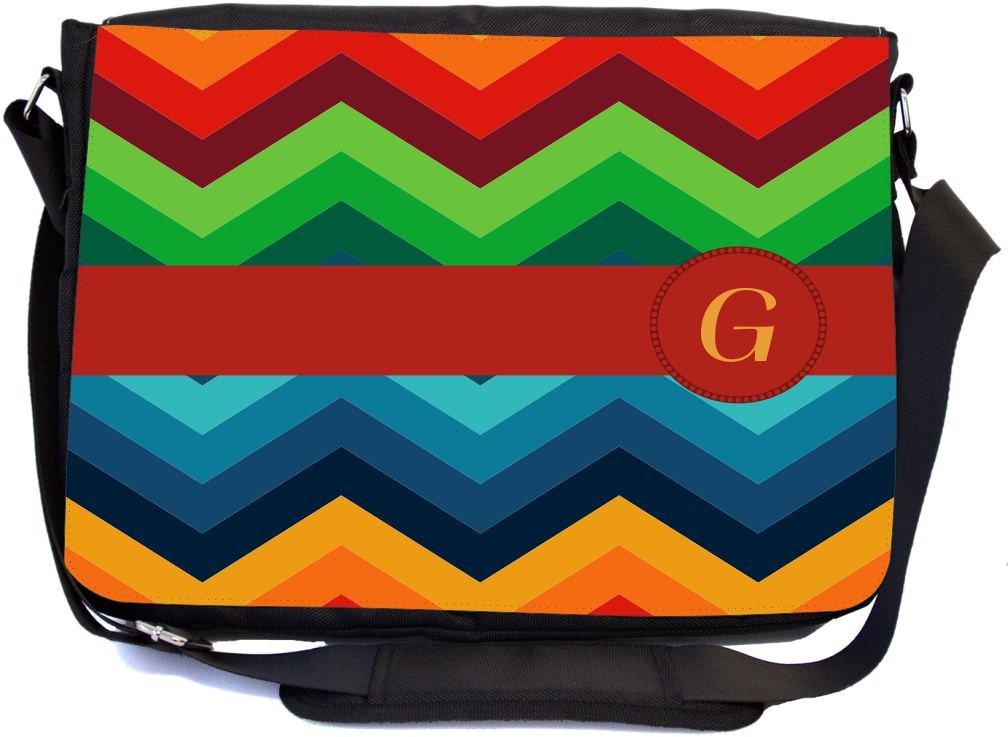 Rikki Knight LetterG Initial on Zig Zag Design Messenger School Bag mbcp-cond45868
