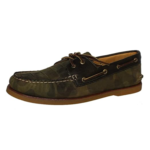 Sperry Top-Sider Men's Gold A/O 2-Eye Camo Olive Boat Shoe