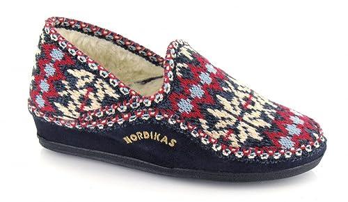 Nordikas, 2002, Zapatilla de paño azul marino de Mujer, talla 36: Amazon.es: Zapatos y complementos