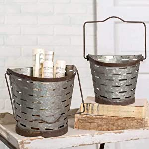"""Colonial Tin Works Rustic Farmhouse Decor Olive Pail Set of 2 Home Décor, Large: 10"""" dia. x 10""""H. Small: 8""""dia x 8""""H, Gray"""