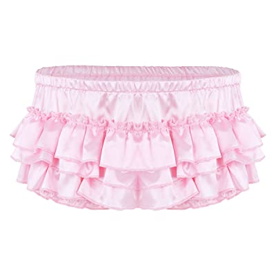 Aislor Men's Soft Shiny Satin Frilly Sissy Lingerie Bloomer Ruffled Skirted Panties Crossdress Underwear at Amazon Men's Clothing store