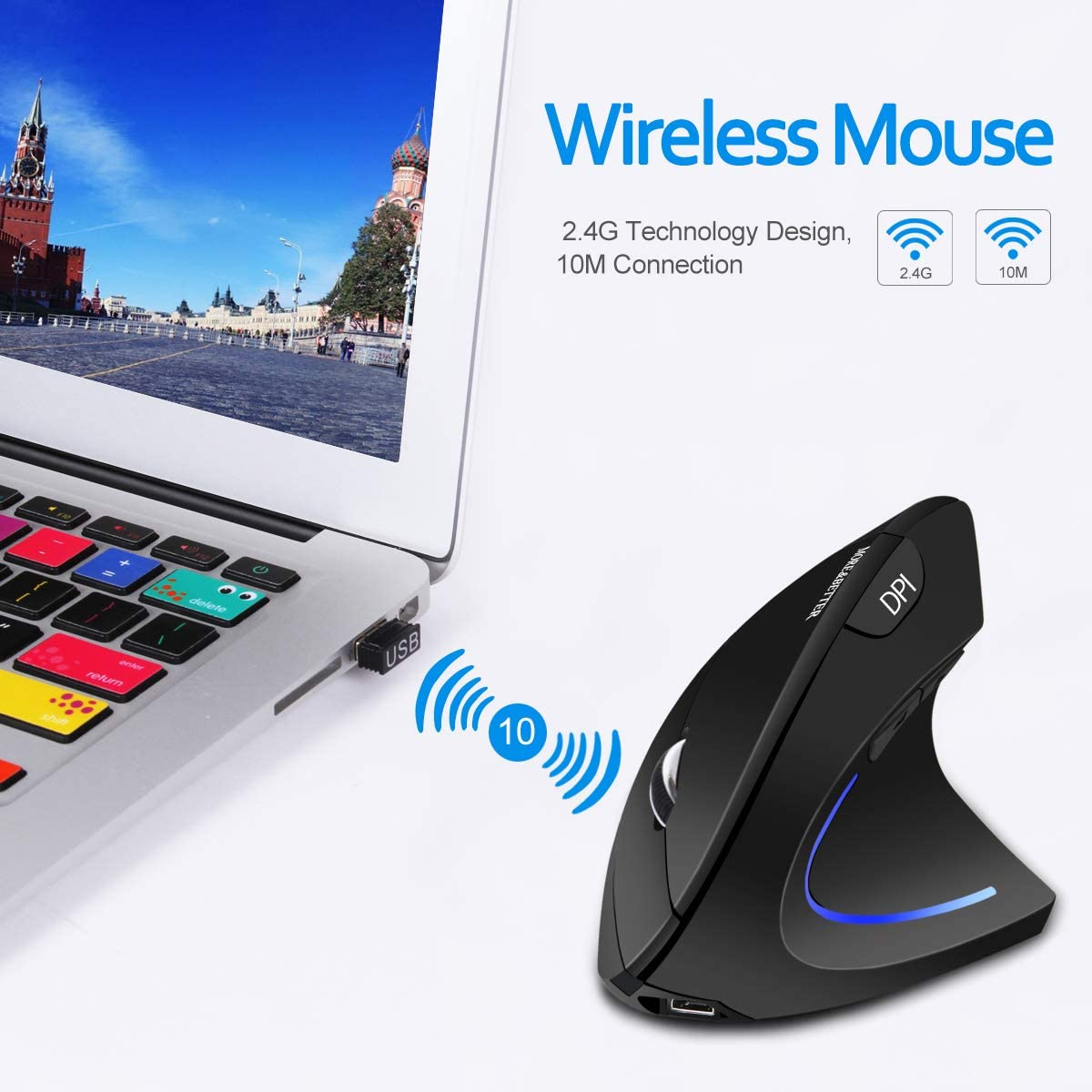Vertical Mouse Wireless Ergonomic Mouse Rechargeable 2.4G Optical Vertical USB Mouse with Adjustable 1000//1200//1600 DPI Black 6 Buttons Reduces Hand//Wrist Pain for Laptop Computer