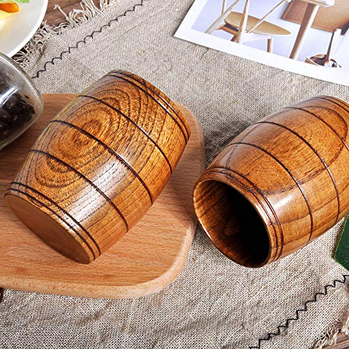 Gotian New Wooden Cup Log Color Handmade Natural Wood Coffee Tea Beer Juice Milk Mug, Natural Jujube Wood, Healthy and Natural, Small Teacup