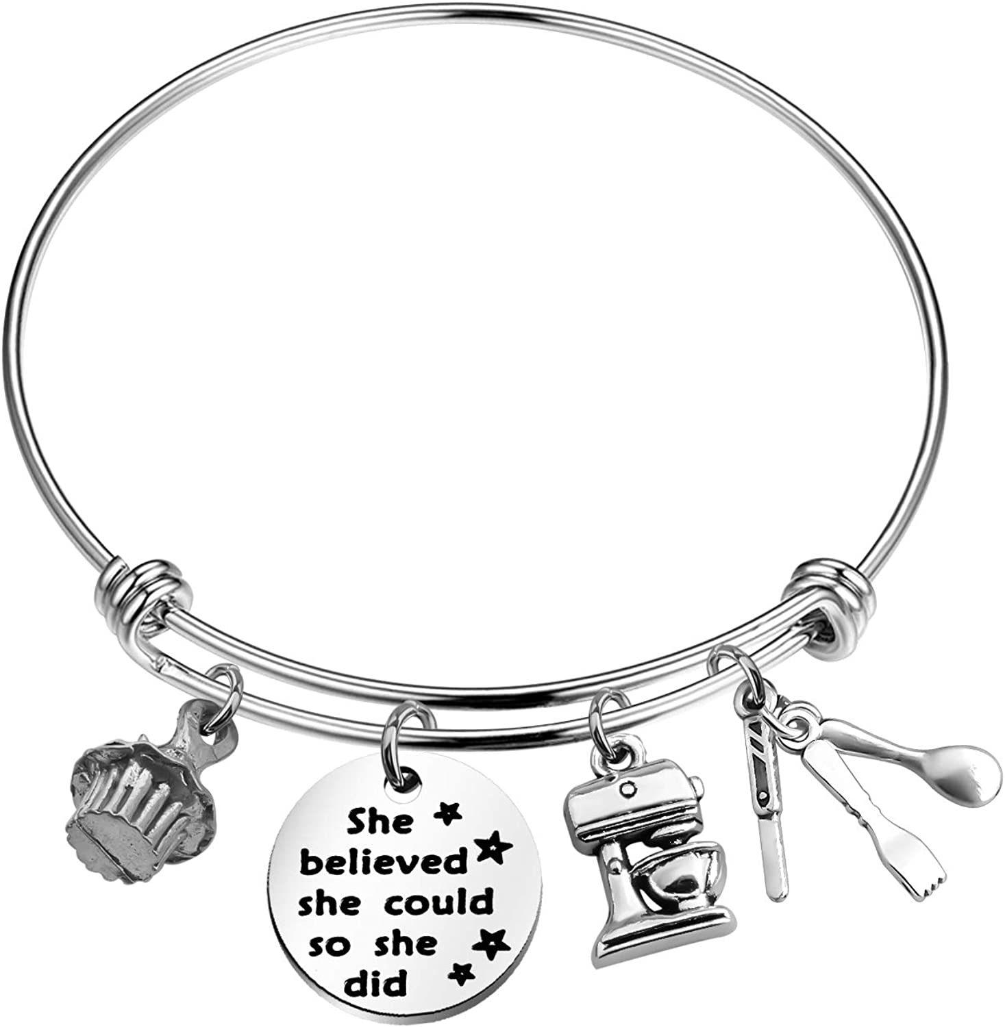 CHOORO Baker Gift Baking Charm Bracelet She Believed She Could Wire Bangle Pastry Chef Gift for Her