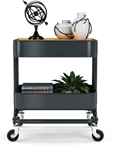 Utility Storage Shelves Rolling Cart - PUNP Heavy Duty Metal 2 Tier Rolling Cart Storage Shelves with Cover Board & Casters, Meet Perfect Storage