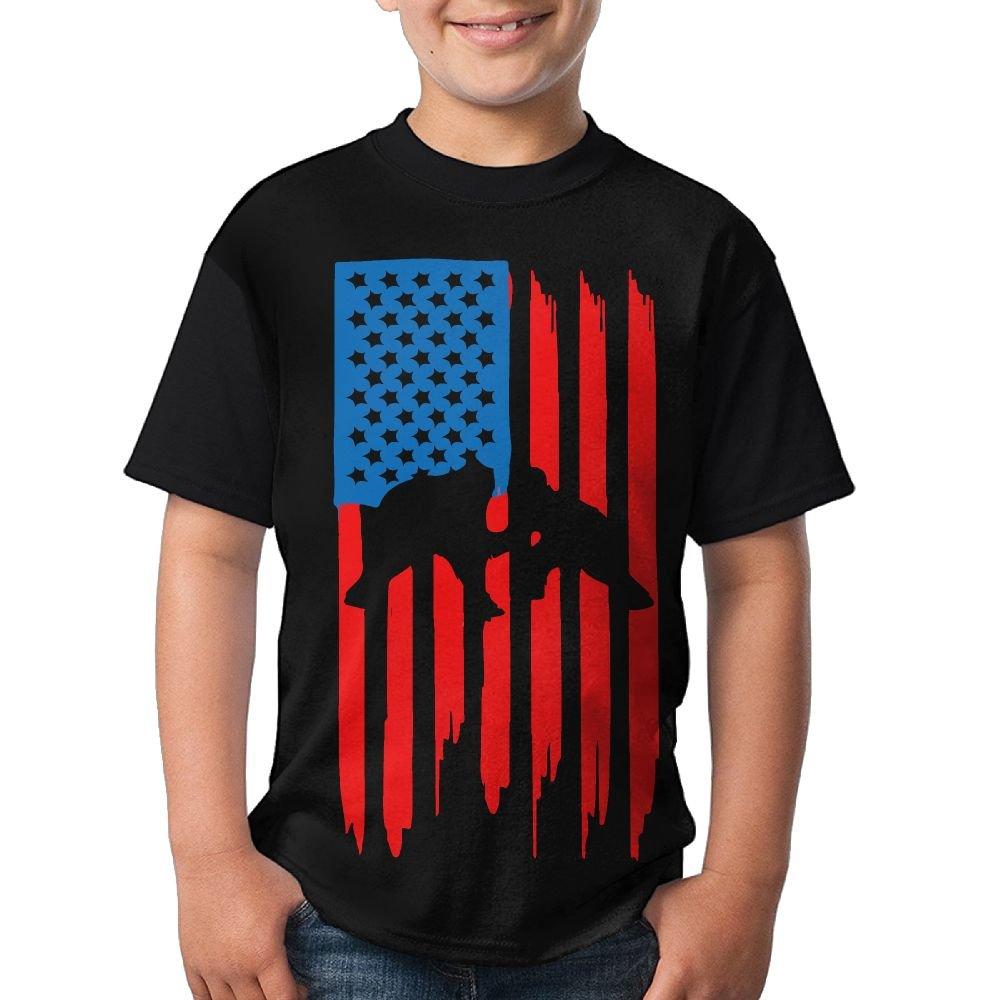 HUDS VIFV Wrestling American Flag Boys Crew Neck Short Sleeve T-Shirts Tees