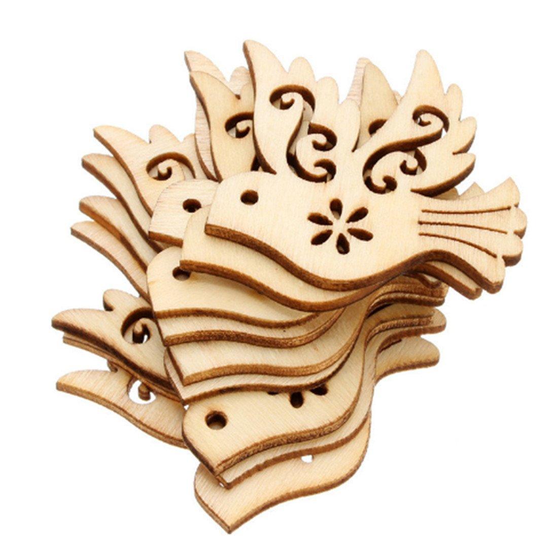 UNKE 10 Pcs Pigeon Love Birds Wooden Embellishments DIY Crafts Hanging Ornament Home Wedding Decoration