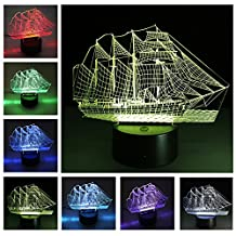3D LED Illusion Light USB Night Lamp Sea Boat Shape Night Light with 7 Colors Changing ,Christmas Birthday Gift Kids Toy Bedroom Home Decoration Sailboat