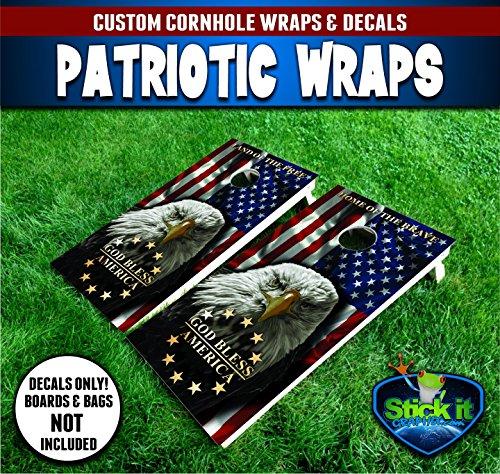 American Flag USA Eagle #2 custom cornhole Wrap set, 2 decals 24