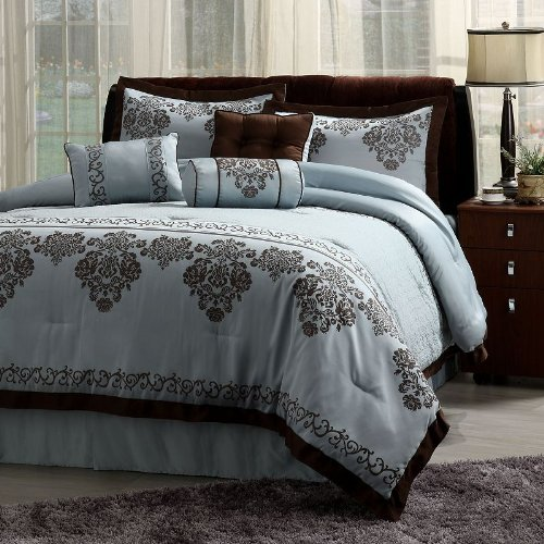 Comforter Set 7 Piece Fontaine Blue with Chocolate Brown Trim Ensemble