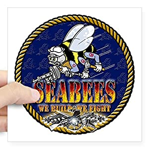 CafePress US Navy Seabees Lava Glow Square Bumper Sticker from CafePress