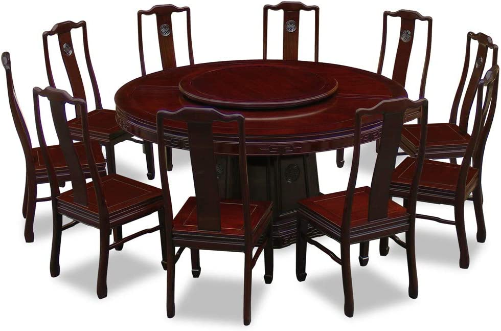 Amazon Com China Furniture Online Rosewood Asian Dining Table 10 Chairs 66 Inch Round Longevity Dark Cherry Tables