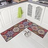 Carvapet 2 Piece Non-Slip Kitchen Mat Runner Rug Set Doormat Vintage Design Baroque Style,Purple (15''x47''+15''x23'')