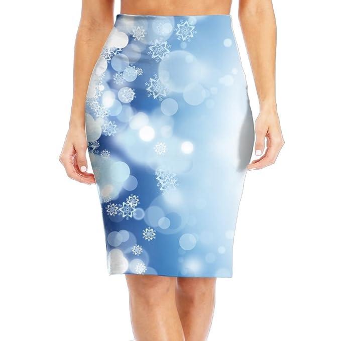 552a99b9ad Ancharpin Holiday Snowflakes Elastic High Waist Pencil Skirt Bodycon Career  Office Midi Classic Fashion Small