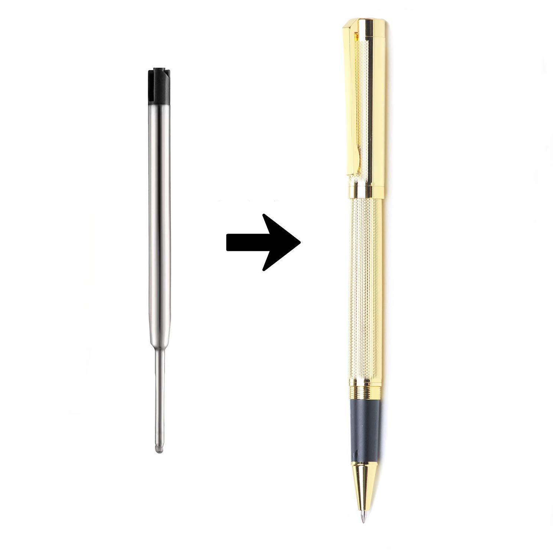 3 Silver ULIN 3 Pack Silver Pens With Black Ink Ballpoint Pens Retractable Pen In Bulk Stainless Steel Metal Pens Ball Point Medium 0.7mm Business Office Grip Nice Gift Pen For Women Girls Men
