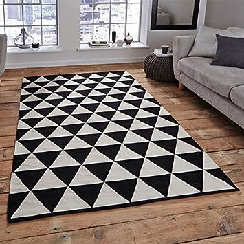 Teppich schwarz weiß  Think Rugs Manhattan mh211 a 100% Wolle indischen handgefertigt ...