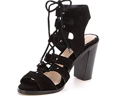 a034a7782957 Gianni Bini Kolemann Lace-up Block-Heel Dress Sandals Black 9.5M Women  (9.5M)  Amazon.co.uk  Shoes   Bags