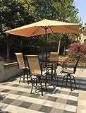 6pc Aluminum Patio Bar Dining Set with Umbrella