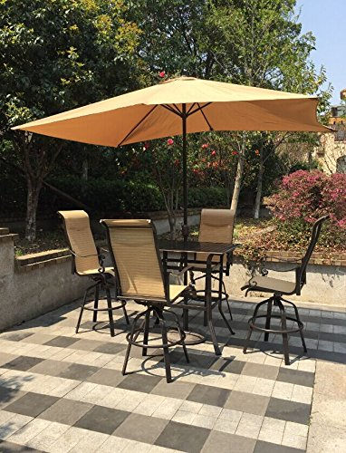 Pebble Lane Living All Weather Rust Proof Indoor/Outdoor 5pc Cast Aluminum Patio Bar Dining Set, 1 Slat Top Bar Dining Table, 4 Swivel Rocking Bar Stools with Padded Headrest & Umbrella, Brown/Cream