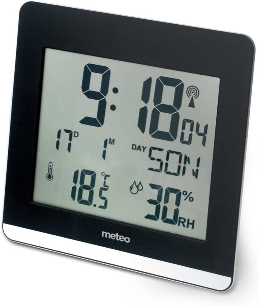 Reloj de Pared METEO ZP26 DCF con Termometro, Higrometro, Pantalla Grande 16,5 x 19cm
