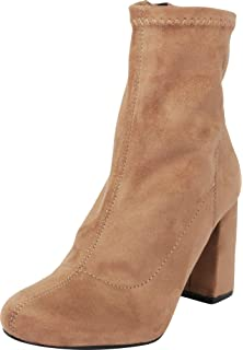 e56dec93cc5 Cambridge Select Women s Closed Round Toe Stretch Sock Fabric Chunky Block  Heel Ankle Bootie