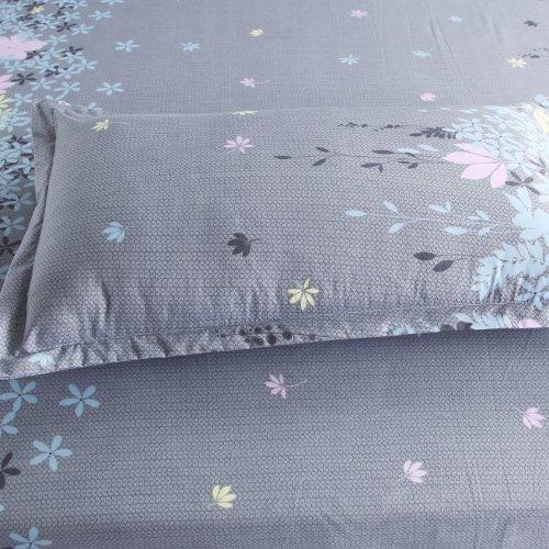 Vaulia Lightweight Microfiber Duvet Cover Sets, Floral Print Pattern Design, Grey Color - Queen Size