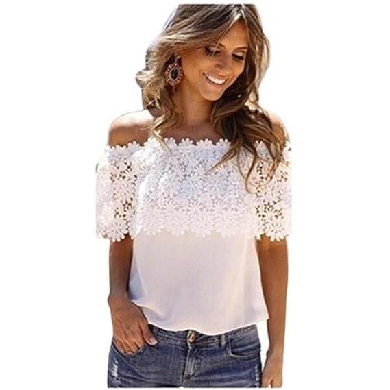 Camisas Mujer, ❤️Xinan Blusa de Tirantes Casuales de Mujer Sexy Fuera del Hombro Camisa de Gasa de Encaje con Encaje: Amazon.es: Ropa y accesorios