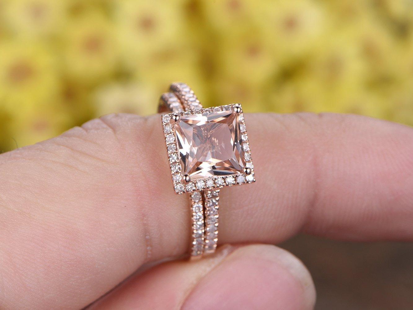 Amazon.com: 2PCS Wedding Ring Set, 8mm Princess Cut VS Pink ...